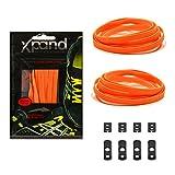 Xpand® Schnürsenkel ohne binden - Flache elastische Schnürsenkel mit einstellbarer Spannung - in alle Schuhe einfach nur hineinschlüpfen (NEON ORANGE)