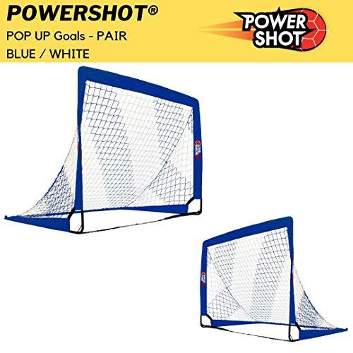POWERSHOT Fußballtor Pop up - 2 Größen und 3 Farben zur Auswahl - 2er Set - faltbares Garten Fußballtor für Kinder (Blau/Weiss, 180 x 120cm)