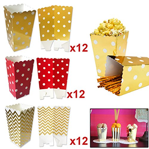 Popcorn Boxen Taschen, 36Pcs Popcorn Boxen Karton SüßIgkeiten Container, Papier Pralinenschachtel FüR Party Snacks, Partys, SüßIgkeiten, Popcorn, Kinder, Geschenke, Geburtstage Und Theater Etc.