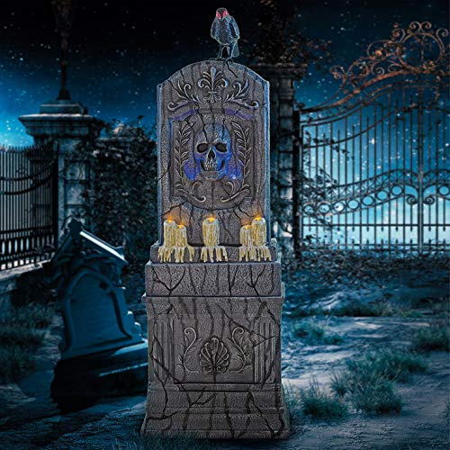 Halloween-Grabstein mit Bewegungsmelder, gealterter Friedhof, mit Raben, LED-Lichtern, Geräuschen, und All-In-One Outdoor-Graded Funktion, Grau, 152 cm