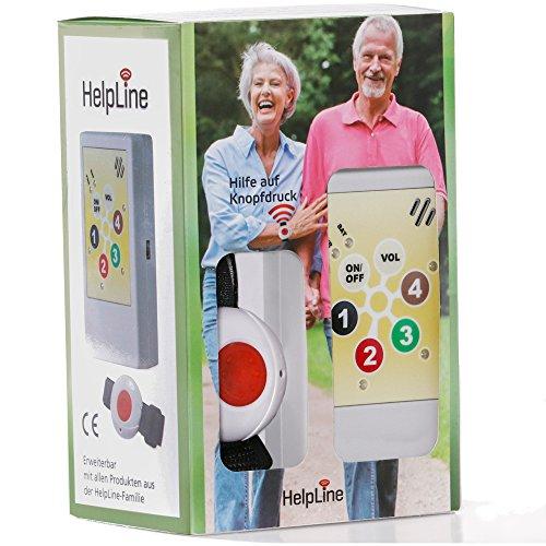 """Système d'alarme médicale domestique pour personnes âgées avec avec émetteur bracelet radio, récepteur mobile et fonction de confirmation """"HELPLINE 1.0"""""""