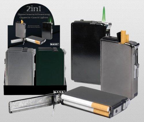 Zigarettenetui mit Feuerzeug Mix, in div. Farben