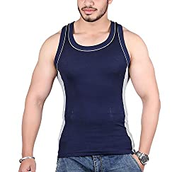 White Moon Mens Cotton Gym Vest (WM999_Blue_Small)