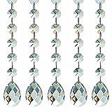 H & D 10Strähnen Deko Kronleuchter Kristall Ornament Teil mit 38mm Kristall Tropfen und Kristall Octagon Perlen