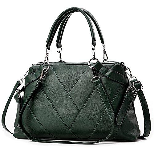 BestoU Bolsos Mujer grandes Bolsos de hombro Shopper bolso tote PU Piel negro (Verde)