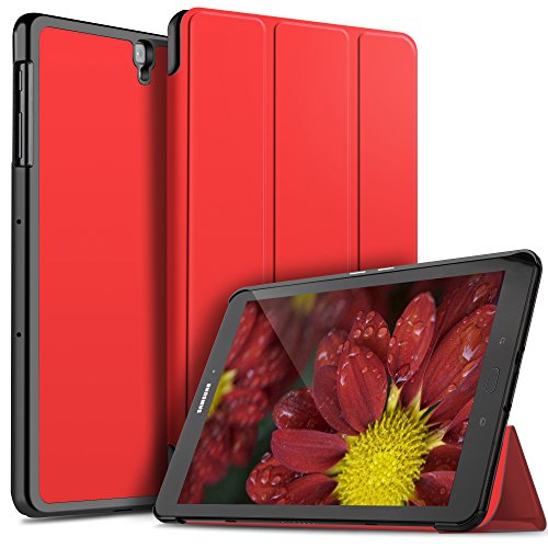 ELTD Coque Housse Étui pour Samsung Galaxy Tab S3 9.7, Smart Cover Housse Etui Cuir Coque avec Support pour Samsung Galaxy Tab S3 9.7 Tablette, Rouge