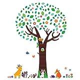 DECOWALL DM-1312N Grande Albero con Amici Animali Adesivi da Parete Decorazioni Parete Stickers Murali Soggiorno Asilo Nido Camera da Letto per Bambini