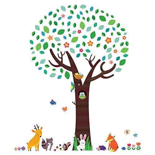 Decowall DM-1312N Groß Baum mit Waldtiere Tiere Wandtattoo Wandsticker Wandaufkleber Wanddeko für Wohnzimmer Schlafzimmer Kinderzimmer