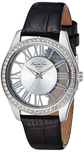 Kenneth Cole Transparency KC2730 - Reloj analógico de cuarzo para mujer, correa de cuero color negro (agujas luminiscentes)