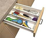#5: Kawachi Plastic Adjustable Divider System Drawer Organizer, Standard (Multicolour, K428)