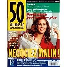 50 MILLIONS DE CONSOMMATEURS [No 258] du 15/01/1993 - NEGOCIEZ MALIN IMPOTS - CE QUE VOUS PAYEZ VRAIMENT TEST TELECOPIEURS CAMESCOPES - MAGNETOSCOPES - TELE - ROBOTS MENAGERS - MICRO-ONDES - LAVE-LINGE - REFRIGERATEURS - AUTORADIOS - ANTIVOLS AUTO - REPONDEURS - PRODUITS HYDRATANTS - CASQUES MOTO