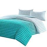 SCM Bettwäsche 200x200cm Grün 100% Baumwolle Renforcé 3-teilig Bettbezug & Kissenbezüge 50x75cm Kariert Ideal für Schlafzimmer Squares