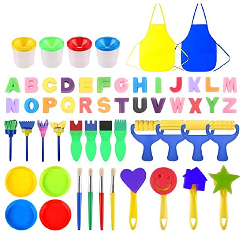 Koojawind 56 pcs Sponge Paint Brushes Kits Painting Brushes Tool Kit for Kids Early DIY Learning Include Foam Brushes, Pattern Brushes, Children Toddlers Art Craft DIY Drawing Brush Painting Kit