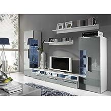 Wohnzimmermöbel weiß grau  Suchergebnis auf Amazon.de für: Wohnwand Hochglanz grau