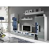 JUSTyou Romo Wohnwand Anbauwand Schrankwand Farbe: Weiß Matt/Grau Hochglanz