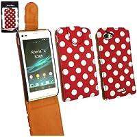 Emartbuy® Sony Xperia L Premium-Pu-Leder Flip Case / Cover / Tasche Polka Dots Rot / Weiß Und Lcd Screen Protector