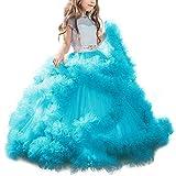 Mädchen Applique Prinzessin Lang Kleid Elegante Tüll Kleid für Hochzeit Brautjungfer #2 Blau 8-9 Jahre