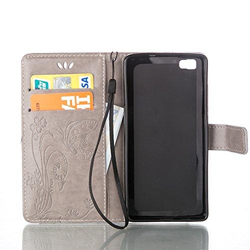 Coque Huawei P8 Lite Anfire Fleur et Papillon Motif Peint Mode Coque PU Cuir Etui Case Protection Portefeuille Rabat Étui Coque Housse pour Huawei P8 Lite Huawei ALE-L21 (5.0 pouces) Luxe Style Livre  Gris