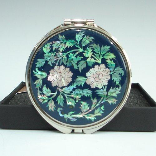 Miroir Grossissant Compact Double Bleu Nacre Miroir de Poche avec Motif Fleur de Pivoine