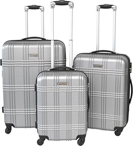 normani Hartschallen Trolley-Koffer Set 50cm/60cm/70cm (231l/13kg) mit ABS Farbe Silber