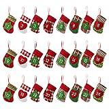 KESOTO Calendario de Adviento de Navidad en Forma de Calcetín 24 Bolsas de Fieltro Decoración Navideña para el Hogar