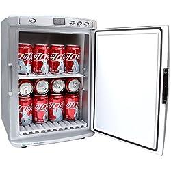Minibar/mini-réfrigérateur de camping 25 litres 220 V + 12 V (véhicule) + minuterie nocturne pour un fonctionnement silencieux Garde au chaud ou au froid