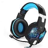 PC & PS4 Gaming Headset- Playstation 4 Gaming Kopfhörer mit Mikrofon LED Effekt für PS4 PC Film Gaming Spielen Chat Musik Best Weihnachtsgeschenk Blau.