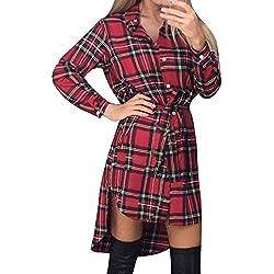 Style Dome Vestido Mujer Camisa Blusa a Cuadros Cinta Elegante Fiesta Mangas Largas Cóctel Noche Rojo 2XL