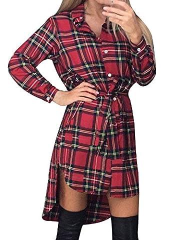 StyleDome Women's Long Sleeve Tartan Check Plaid Long Tops Shirt