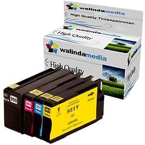 walindamedia 4x druckerpatronen ersatz f r hp 950 xl 951 xl tinte 1x hp 950 black je. Black Bedroom Furniture Sets. Home Design Ideas