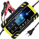 NWOUIIAY Chargeur de Batterie Intelligent Portable 8A 12V/4A 24V LCD Écran avec Protections Multiples Type de réparation pour Batterie de Voiture Moto