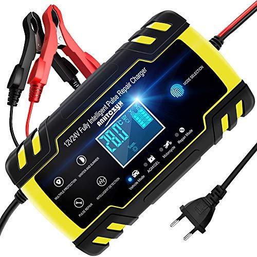 NWOUIIAY Chargeur de Batterie Intelligent Portable 8A 12V/4A 24V LCD Écran avec Protections Multiples Type de...