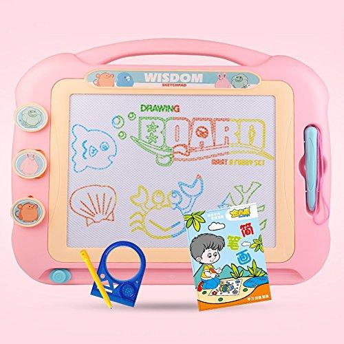 Großformatiges magnetisches Zeichenbrett für Kinder/Kinder/Kleinkinder/Babys/Erwachsene/Mädchen/Jungen/Reisen mit 3Stempeln und 1 Stift - Retail Box - Auch Magic Magical Doodle/Scribble/Writing/Draft/Sketcher Tablet Pad (Pink) genannt (Sketcher-box)