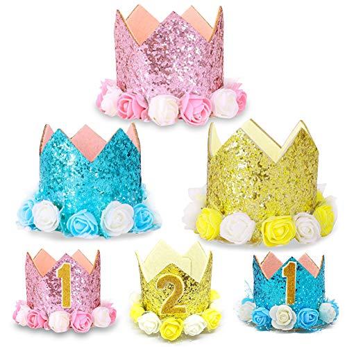 Kostüm Zubehör Tierpfleger - MoMo Honighut für Haustiere, Hut, Geburtstag und Katze, glänzende Paillettenkrone mit Blumen und Zahlen, für Kinder