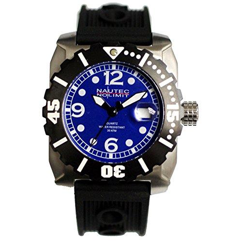 Montre Hommes Nautec No Limit Quartz - Affichage Analogique Bracelet Caoutchouc Noir et Cadran Bleu ANCH-QZ-RBSTBK-BL