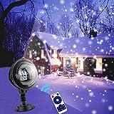 Projecteur LED de Noël Flocon de Neige, Projecteur Extérieur et Intérieur Noel avec Télécommande Étanche IP65 Chute de Neige Éclairage Décoratif pour Decoration Noel, Fête