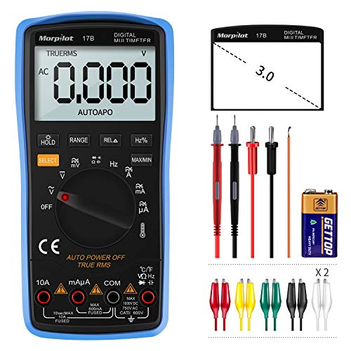 Morpilot Digital Multimeter, True RMS 6000 Counts Advanced Multimeter, messen AC/DC Spannung, AC/DC Strom, Widerstand, Kontinuität, Kapazitanz, Frequenz, Tests Dioden, Temperatur (Blau 2)