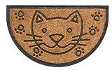 Felpudo Clásico Bombay 45 x 75 cm gato semicirculo, color natural. Fibra de Coco natural, robusto.