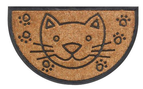 """Kokos Fussmatte 45x75cm halbrund """"Katze"""" Schmutzfangmatte Türmatte Schmutzmatte Fußabtreter Kokosmatte"""