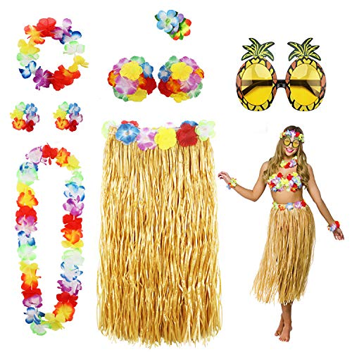 Phogary 8 Teilig Hawaii Mottoparty Kostüme Set, Hula Rock (Naturfarben), Blumenkette, Blume-Armbänder, Blumen-BH, Haarblume, Ananas-Sonnenbrille für Tikiparty Beachparty Deko