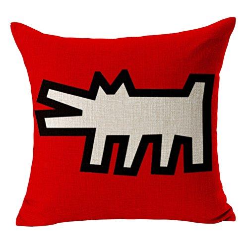 Überwurf Kissen, cosydeal Home dekorativer Moderner Keith Haring Abstrakt Graffiti Drucken Baumwolle Leinen Quadratisch Überwurf Kissenbezug Kissen Fall, 45,7x 45,7cm, baumwolle, h, Standard