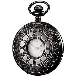 KS Half Hunter Steampunk Hollow Black Case Roman Number Japanese Quartz Pocket Watch KSP023