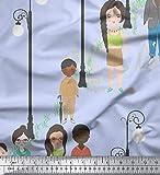 Soimoi Azul terciopelo Tela farola Figura humana tela estampada de 1 metro 58 Pulgadas de ancho