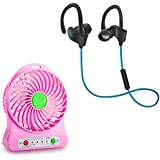 Raptas Mini Portable USB Rechargeable Fan With LED Light And Qc-10 Jogger Sports Bluetooth Headset V4.1 Works With All Android Or IPhone Devices.