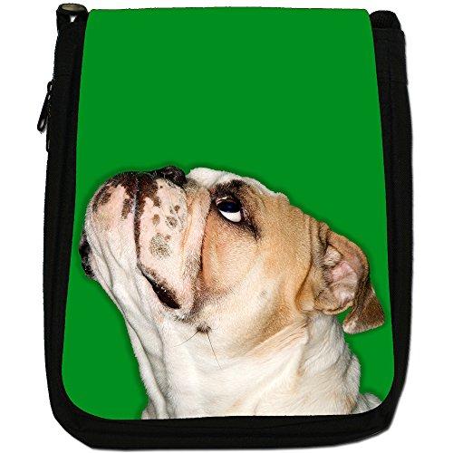 Close Up Di Bulldog Looking Up Medium Nero Borsa In Tela, taglia M Green Bulldog Looking Up