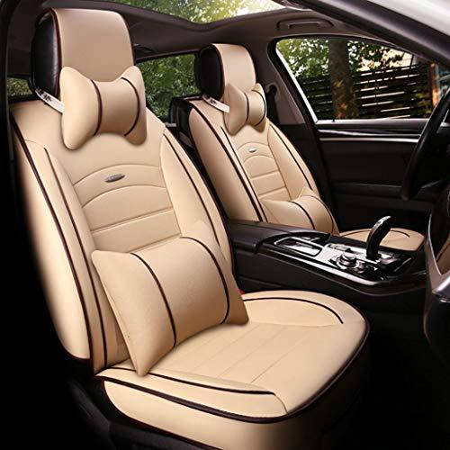Funda Asiento Coche Cubiertas del asiento de cuero de lujo para el automóvil, cojín universal del asiento del automóvil Juego completo Delantero trasero 5 asientos, juego de 9 piezas, para la mayoría