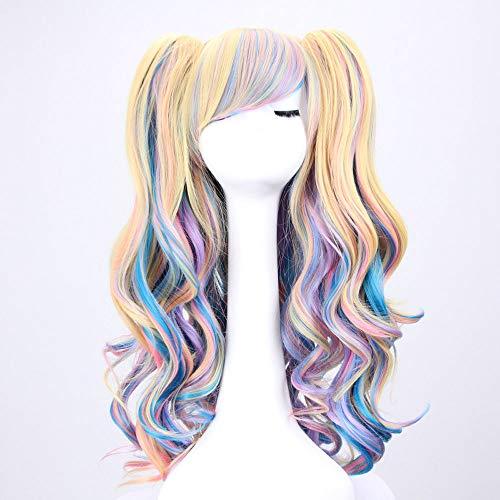 lklaue Clip Beauty Multi-Color Lolita Lange lockige Clip auf Pferdeschwanz Cosplay Perücke Frau Anime Perücke (Farbe : 4) ()