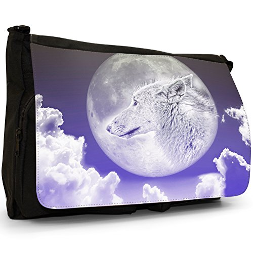 """""""Lupo mannaro"""", colore: nero, Borsa Messenger-Borsa a tracolla in tela, borsa per Laptop, scuola Nero (Moonlight Wolf - Blue)"""