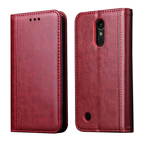 LG K20Plus Fall, LG K20V Fall, LG K102017/LG Harmony/LG Grace/LV V5Fall, ch-ic Luxus Geldbörse Leder Flip Schutz Hülle Cover mit kartenfächer, Ständer, magnetischem Verschluss, Rot - Haut Magnetische Geld Clip
