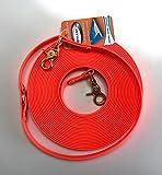 VIVA NATURE Beta Biothane 16mm Longe Langzügel oder Schleppleine Nachsuche HANDMADE (8m, neon orange)